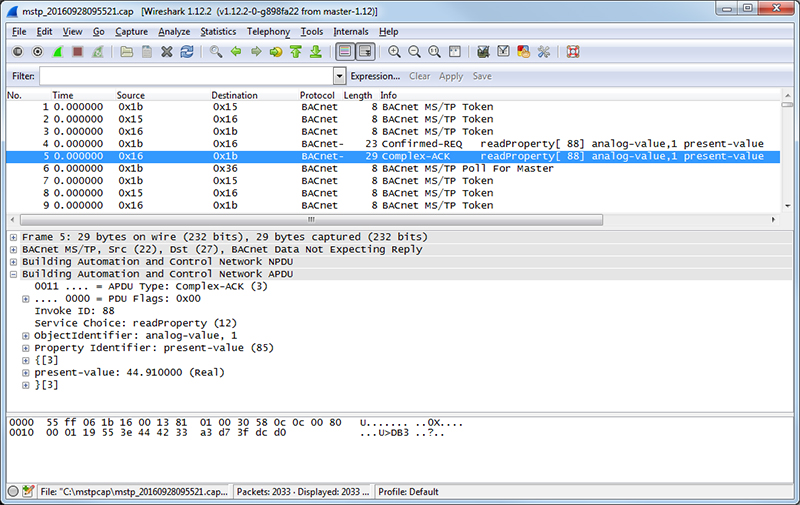 Using Wireshark with MS/TP